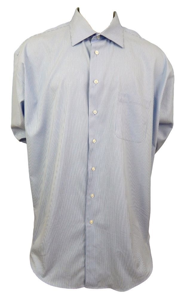 Pronto Uomo Big & Tall Dress Shirt Size Tall 19 37 Non Iron Long Sleeve Blue #ProntoUomo