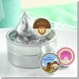 Personalized baby shower hersey kiss stickers! You stick 'em on the bottom of kisses and then display them for your guests!