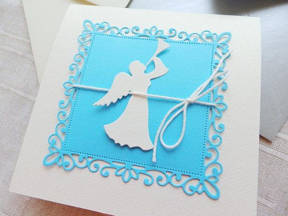 Angel Baby boy shower invitation/Christening  boy