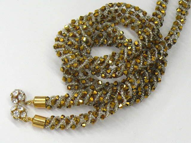 """Gold-Colored Swarovski & Beaded """"Obi-Jime"""" 1"""