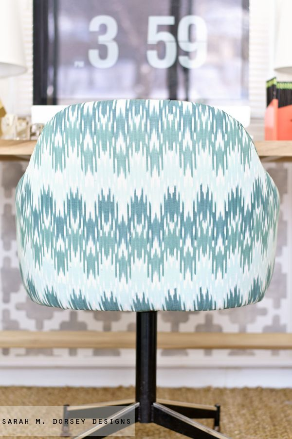 Ikat Chevron Office Chair ReUpholstery
