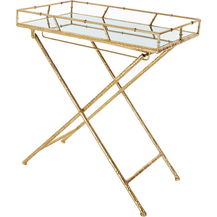 Large Gold Coffee Table Tray: Gold-Tone Rectangular Mirrored Tray Table - TK Maxx