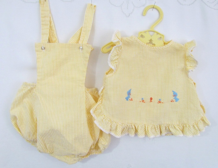 Vintage baby sunsuit with pinafore, 1970's. You had a few