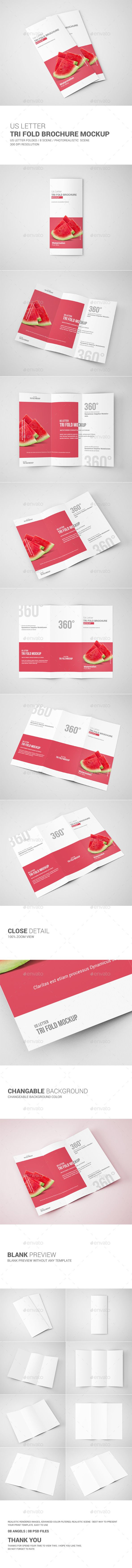 Tri-Fold Brochure Mockup - US Letter  #3d #PSD #render • Click here to download ! http://graphicriver.net/item/trifold-brochure-mockup-us-letter/10877376?ref=pxcr