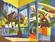 Terrace Of The Country House In St Germain  by August Macke
