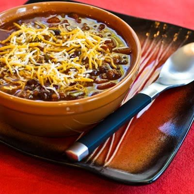 Recipe for Crockpot Pumpkin Chili with Ground Beef, Black Beans, and Kidney Beans [from Kalyn's Kitchen]