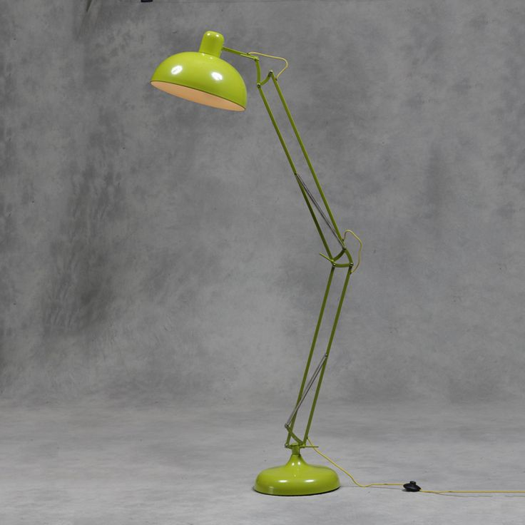 Extra Large Lime Green Classic Desk Style Arc Floor Lamp