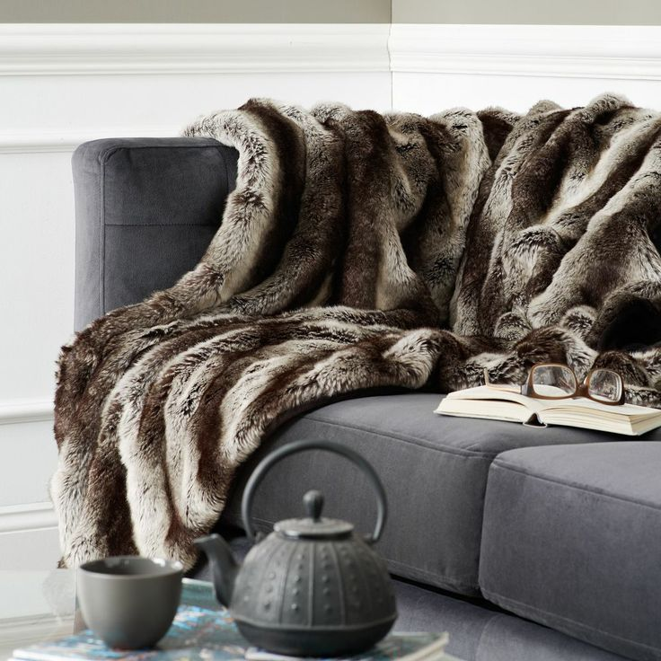 ombre faux fur throw gray. Black Bedroom Furniture Sets. Home Design Ideas