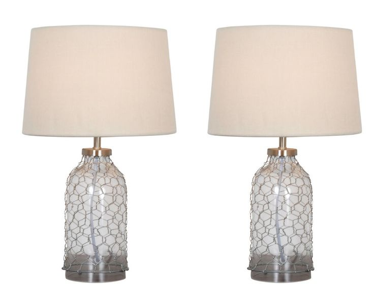 Pair of Glass & Wire Contemporay Nautical Bedside Table Lamp W/ Cream Shade