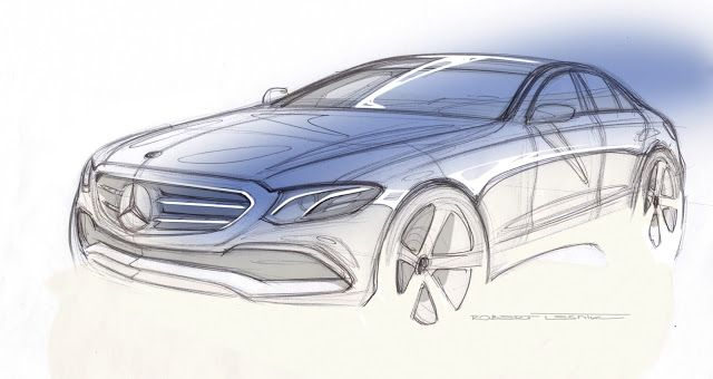 Trending Sketchy: Mercedes-Benz Teases the New 2017 E-class Emotional design and intelligent high-tech perfectly embody the Mercedes-Benz design philosophy of Sensual Purity Mercedes gushes on various social-media channels today with the release of this sketch. The car to which they are referring is of course the next-generation E-class which will be fully unveiled at the Detroit auto show in less than two weeks. The highly accurate teaser sketch by exterior design chief Robert Lesnik dep...