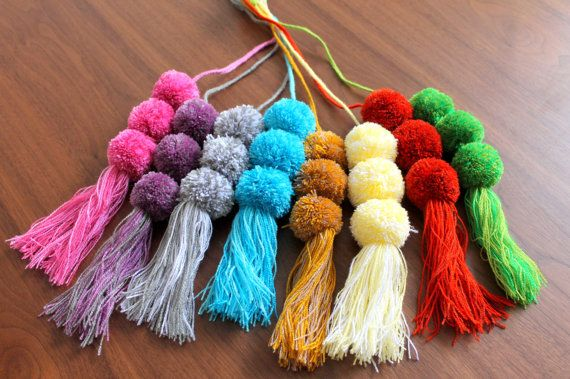 These pom-pom pendants go great with your favorite bag! Perfect for add a colorful touch to your bags, tote bag, purses, pouches, etc.  DETAILS:  - Region: San Cristobal de las Casas, Chiapas, México - Made Of: cotton threads - Condition: NEW - PRICE IS FOR ONE PENDANT.  Measures: -Lenght including fringes: 8,27 inches / 21 cms (not including hanging cording)  ---- If you prefer, you can cut the hanging threads to adjust length.  ** Only 1 piece in stock for each model. **  ---- This item is…
