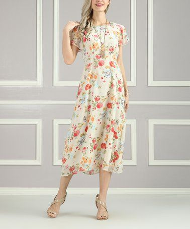 d65c2e72c5e Look what I found on  zulily! White Floral Midi Dress - Women   Plus ...