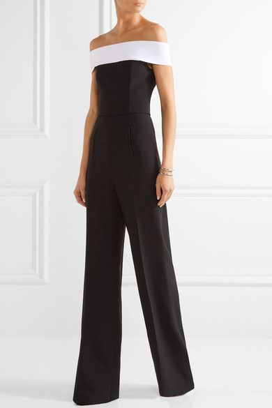 Roland Mouret - Neilson Off-the-shoulder Stretch-crepe Jumpsuit - Black - UK10