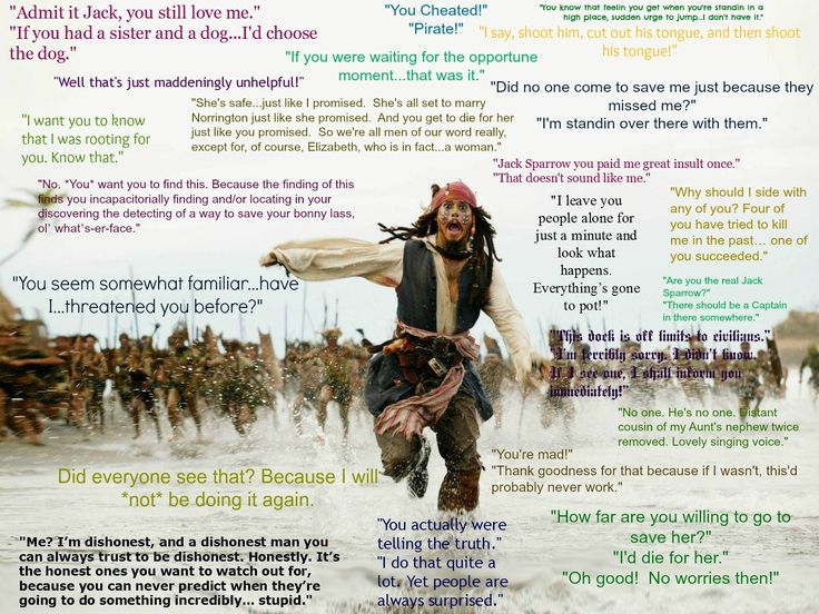 Captain Jack Sparrow Favorite Movie Quotes from Pirates of the Caribbean 1, 2, 3, and 4.  Pirates Quotes!
