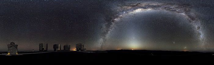 Night view of the Milky Way seen from the platform of Paranal, Chile, home of the ESO giant telescope.