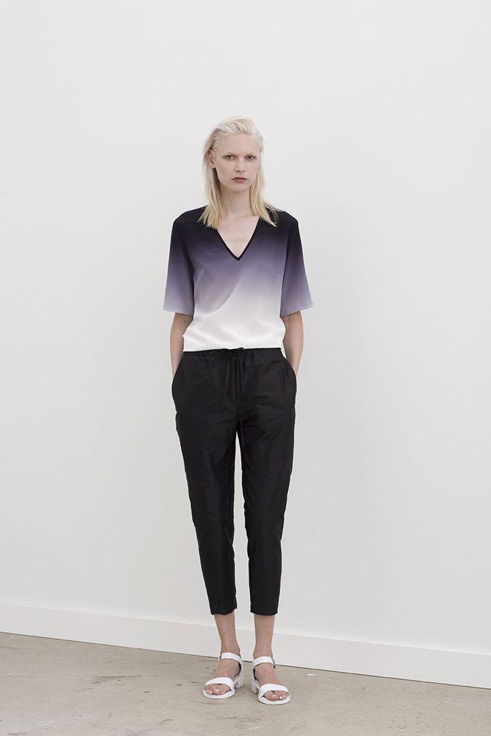 Hardin drawstring pants worn with Gere v-neck sleeved shirt