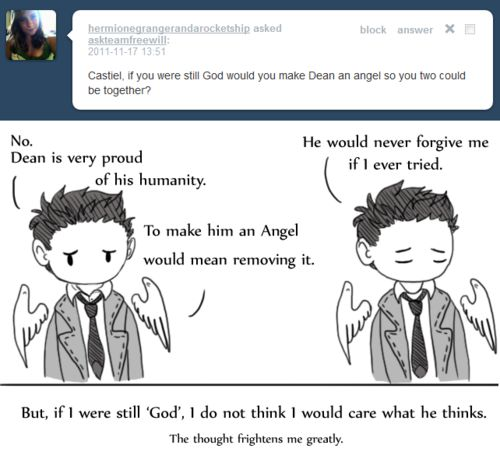 Ask Team Free Will <-- I think Dean would be the next Archangel Michael