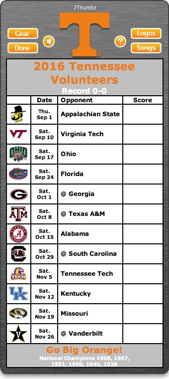 BACK OF MAC APP - 2016 Tennessee Volunteers Football Schedule App for Mac OS X - Go Big Orange!  - National Champions 1998, 1967, 1951, 1950, 1940, 1938  http://2thumbzmac.com/teamPages/Tennessee_Volunteers.htm