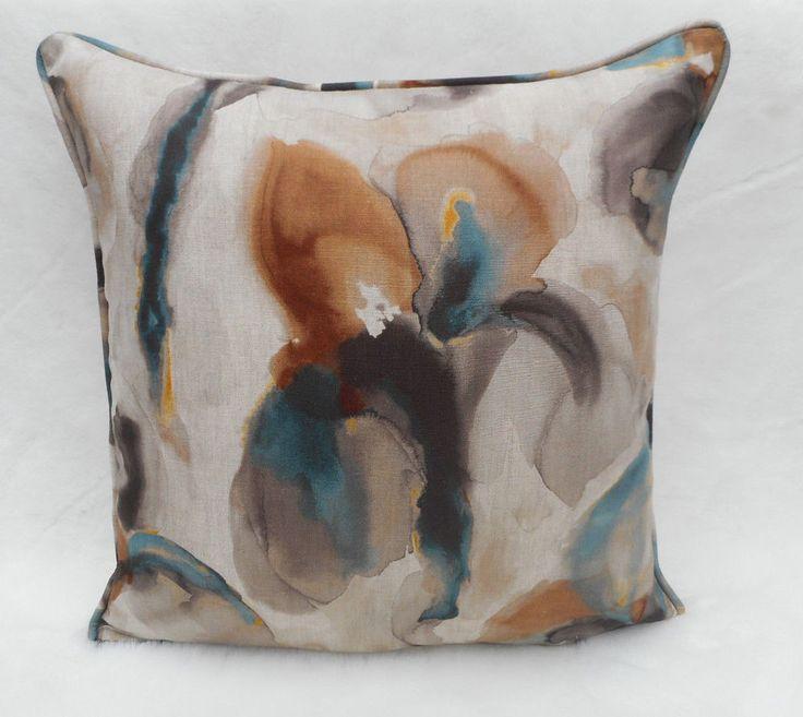 Zoffany Fabric Cushion Cover 'Water Iris' Peacock/Copper 100% Linen - Eco Fabric  | eBay