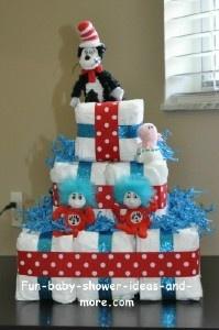 cat in the hat diaper cake, square diaper cake