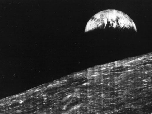 First View of Earth From Moon - Aug. 23, 1966