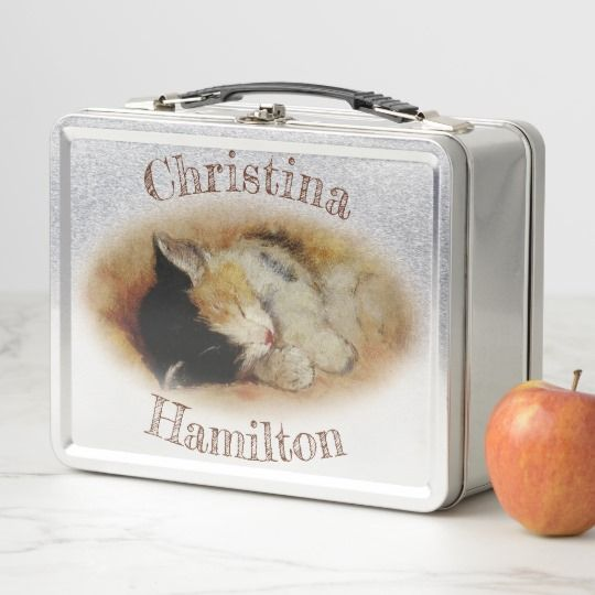 Sleeping Kitten Personalized Retro Style Lunch Box