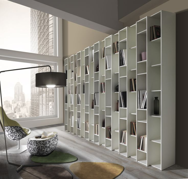 Libreria a Parete in Legno Bianco