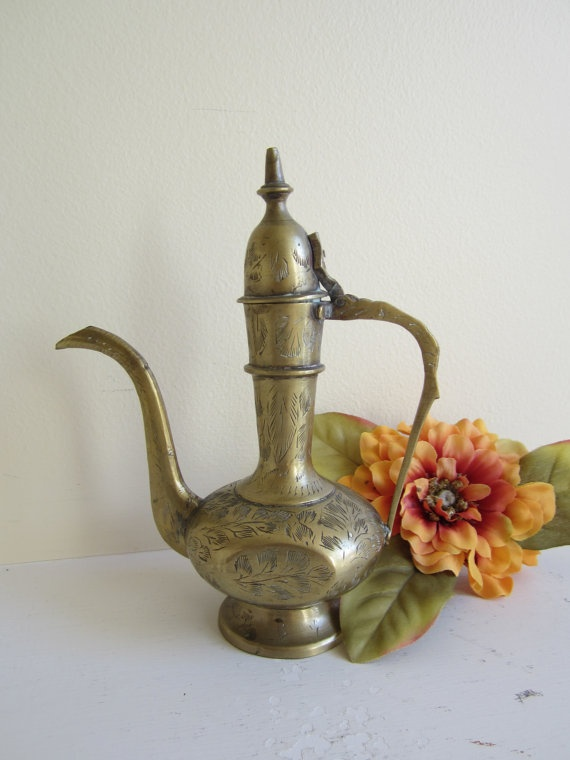 SALE Decorative Middle Eastern Brass by vintagewares on Etsy, $17.00