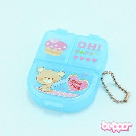 Blue Kawaii Pill Box - Bear
