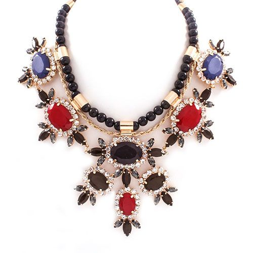 Flower Motif Black Pearl Necklace