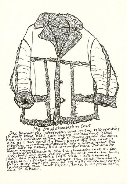 Michael Landy. Ideas: Pick an item of clothing of someone you know and draw it using line to describe the texture. Write a description underneath of the garment and maybe your relationship to the person.