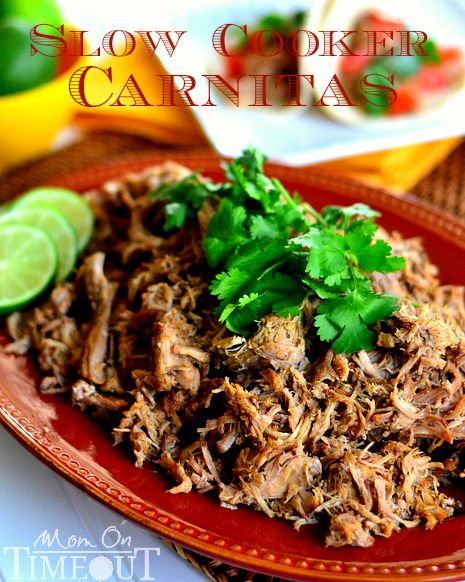 MUY BUENO SLOW COOKER CARNITAS   1 (4) pound boneless pork shoulder roast  2 cups chicken broth or stock  3 bay leaves  4 cloves garlic, smashed  For the rub  2 tsp chili powder  2 tsp ground cumin  1 tsp dried oregano  1/2 tsp ground coriander  1 tsp Kosher salt