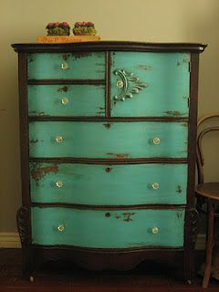 teal is my favorite color right now. going to do this to a cabinet i have in my kitchen. going to add a layer of red paint below the teal to see in the rub through. epic