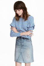 Bluză de jerseu cu volane - Albastru/cu dungi albe - FEMEI | H&M RO 1