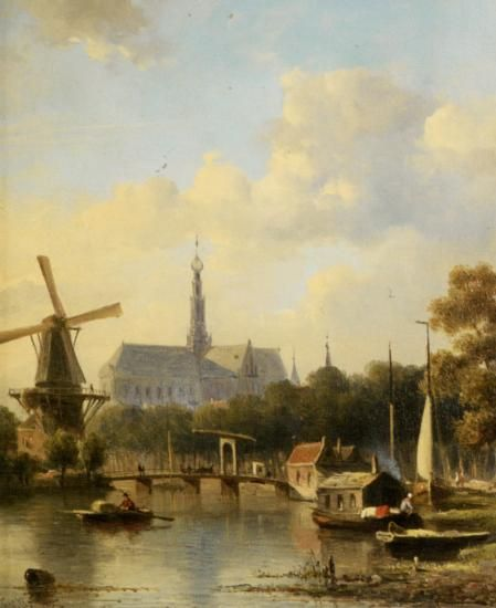 Everhardus Koster (1817-1892) A View of Haarlem with St Bavo Cathedral from the River