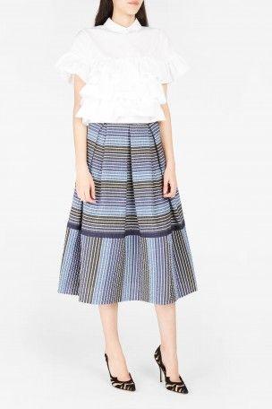 ERDEM Elina Striped Seersucker Skirt. #erdem #cloth #