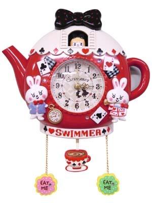 ティーパーティークロック レッド--ONLINE SHOP--SWIMMER (Clock)