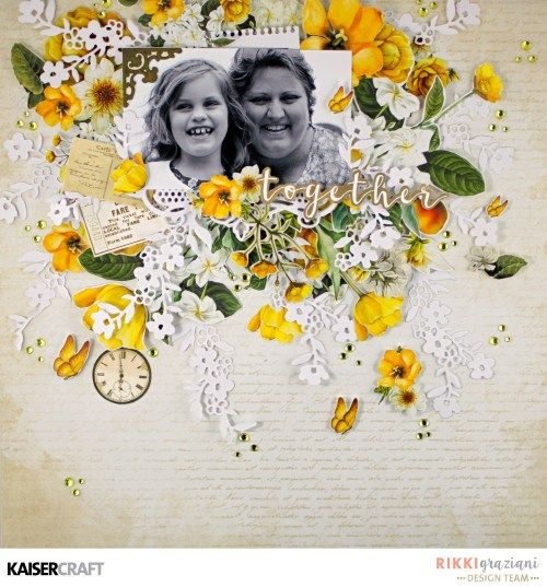 "Exciting New July 2017 Decorative Dies. ""Together"" Layout by Rikki Graziani DT member for Kaisercraft Official Blog. Layout created using the ""Golden Grove"" collection and ""Floral Branch"" Die. Learn more at kaisercraft.com.au/blog - Wendy Schultz - Kaisercraft Layouts."