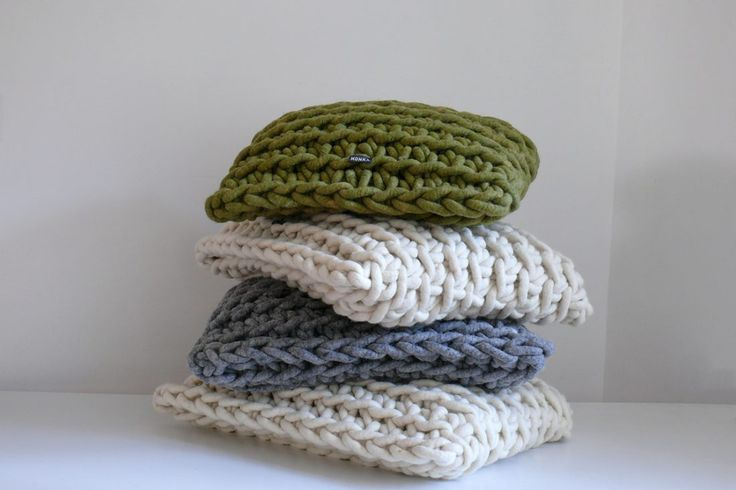 Thick and cosy: soft #cushions of #purewool.