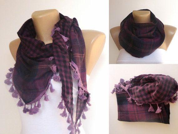 trendscarf  plaid purple tassel scarf  womens by scarvesCHIC, $12.90