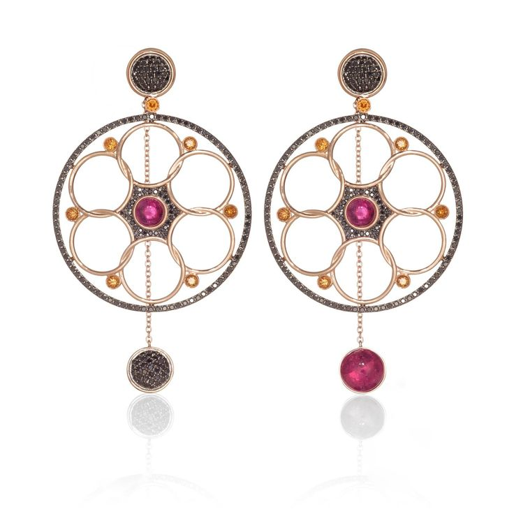 Lily Gabriella Damali rubellite, black diamond and Palmiera topaz earrings. Discover the best jewellery we saw at London Fashion Week 2017 that will be walking the streets and catwalk soon: http://www.thejewelleryeditor.com/jewellery/top-5/top-5-jewels-london-fashion-week-lfw-aw-17/ #jewelry