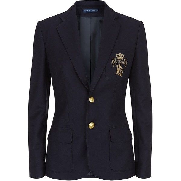 Ralph Lauren Blue Label Polo Crest Blazer ($745) ❤ liked on Polyvore featuring outerwear, jackets, blazers, tops, polo sport jacket, blue jackets, tailored blazer, sports jacket and blue sport jacket