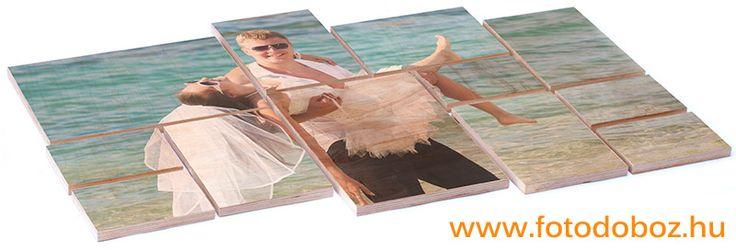 Fotóval nyomtatott fa mozaik