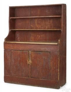 Painted pine stepback cupboard, 19th c.