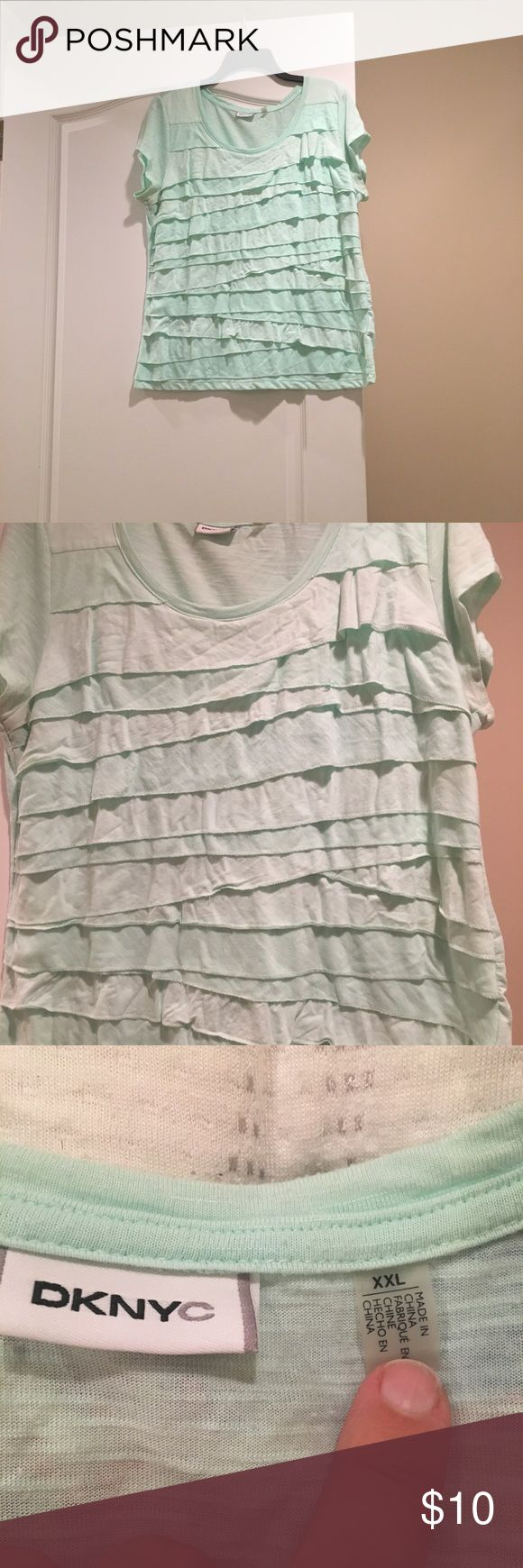 DKNYC XXL women's layered shirt. DKNYC XXL ladies shirt.  Layered sea green super fun shirt.  Worn by itself, under sports coat or light jacket.  Some wear at under arm wear jackets rubbed ( see photo) .  Otherwise no stains, tears or excess wear. Machine washable. DKNYC Tops Tees - Short Sleeve