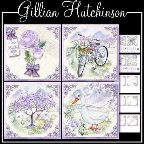Lilac Toppers by Gillian Hutchinson 6 page mini kit with 4 5x5 toppers mixed tiles Happy Birthday Get Well Soon Just to Say Thank You Thinking of You With Love Someone Special and one blank for each. There is also blank and text inserts for all toppers.
