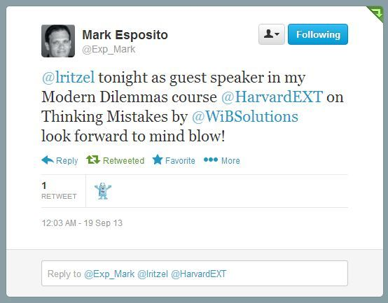 A life tweet from the Harvard session within the course on Management dilemmas under Prof. M Esposito