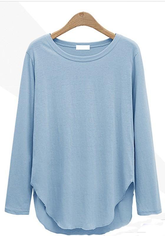 8ec2e005e36 Blue Irregular Round Neck Long Sleeve Loose T-Shirt