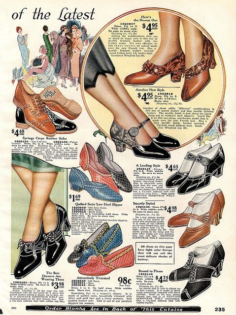 Vintage Shoe Catalogue, Sears 1925 color illustration black brown slippers heels pumps lace up strap buckle 20s flapper gatsby
