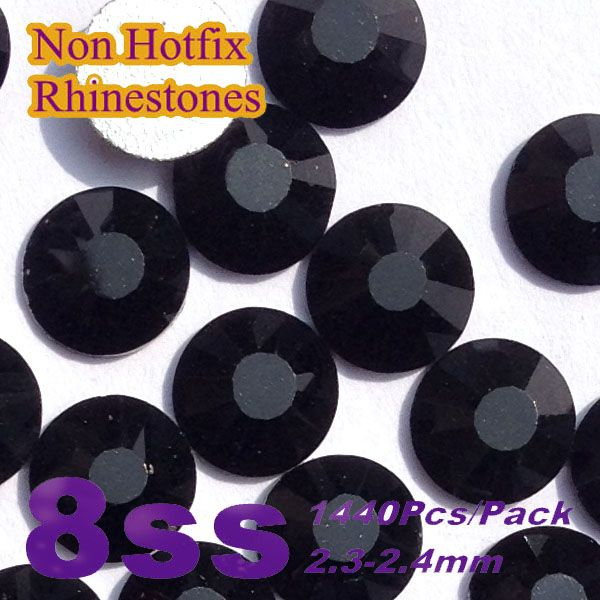 Free Shipping Nail Art Rhinestone Jet Black Color SS8(2.3-2.4mm) 1440pcs/pack Non Hotfix Flatback Crystal Stones